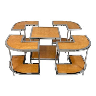 1950s Italian Versatile Parchment and Chrome Nesting Tables - Set of 5 For Sale