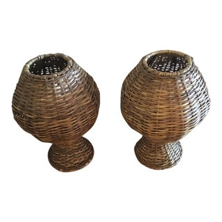 1990s Mid Century Modern Style Bamboo Urns - a Pair