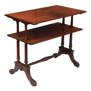 English Two-Tiered Table of Mahogany with Turned Supports For Sale