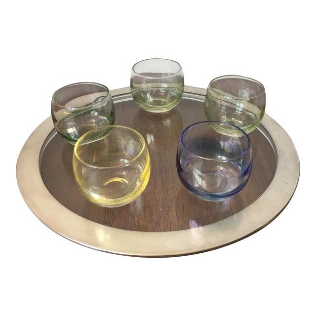Silver Trim Tray & Multicolor Glasses - S/6 - Image 1 of 5