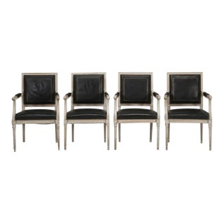 Louis XVI Armchairs in Black Leather - Set of 4 For Sale
