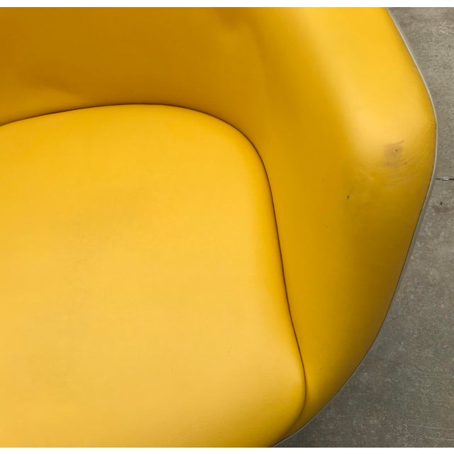 Metal Vintage Mid Century Yellow Eames Style Shell Rolling Desk Chair For Sale - Image 7 of 13