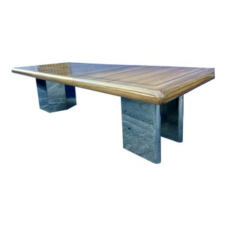 Modernist Zebrawood & Chrome Dining Table For Sale