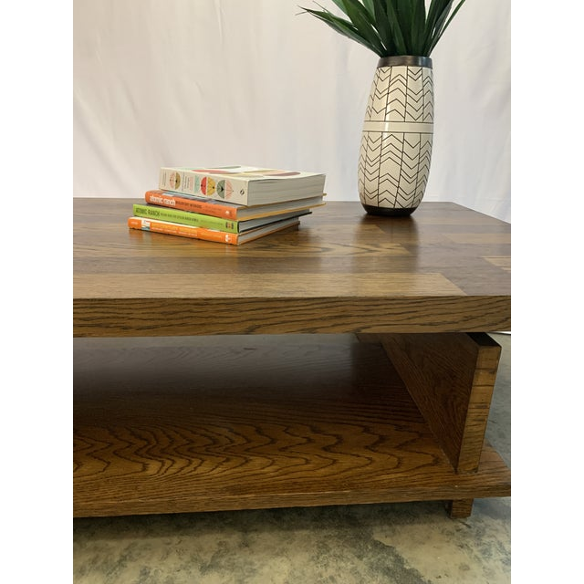 1970s Lane Brutalist Walnut and Oak Coffee Table For Sale In Charlotte - Image 6 of 8