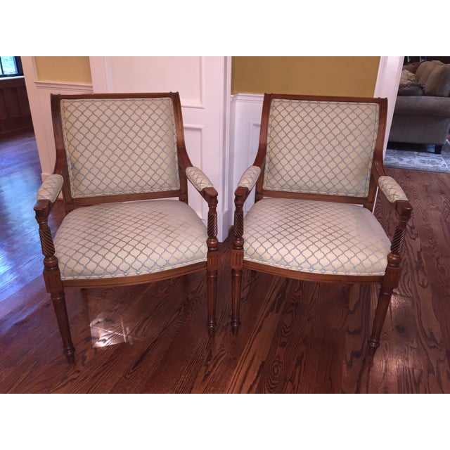Beige & Blue Occasional Armchairs - A Pair - Image 2 of 6