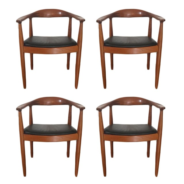 Hans Wegner Style Teak & Leather Chairs - Set of 4 - Image 1 of 5