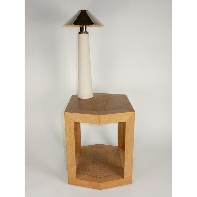 Karl Springer Documented Karl Springer Design Stone Lighthouse Table Lamp - A Pair For Sale - Image 4 of 10