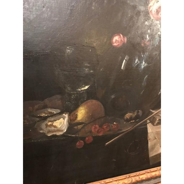 Mid 19th Century 19th Century Oil on Canvas Still Life Signed with Label in an Ebony & Gilt Frame For Sale - Image 5 of 10
