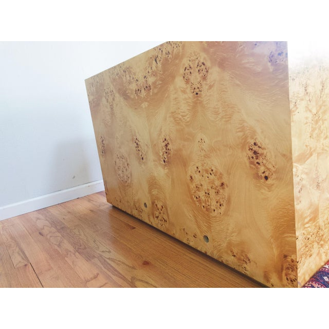 1970s Burl Wood and Brass Credenza Sideboard Style of Pierre Cardin For Sale - Image 5 of 12