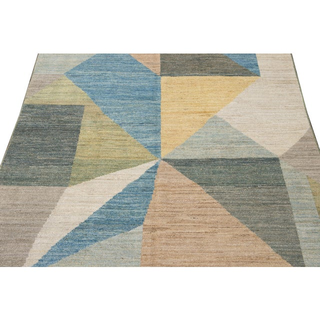 Ivory 21st Century Modern Deco Wool Rug For Sale - Image 8 of 11
