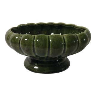 Vintage Mid Century Avocado Green Ceramic Planter For Sale
