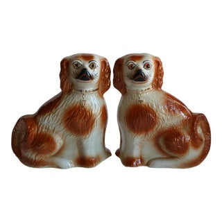 Antique Staffordshire Mantel Dogs - a Pair For Sale