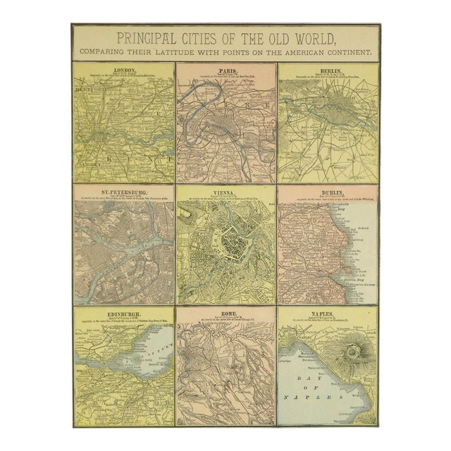 Antique Map of Principal Cities of the World, 1890 For Sale