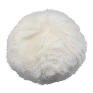 Tasha Tarno Ivory Shearling Ball Pillow For Sale