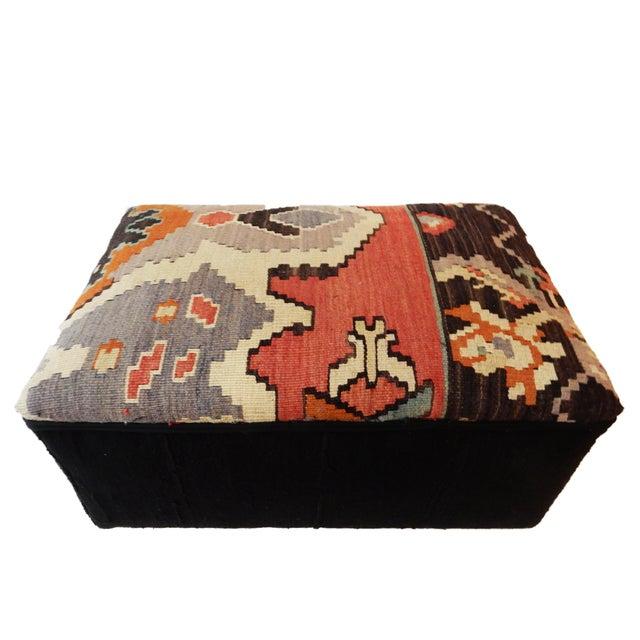 Tribal Kilim Rug & Mud Cloth Ottoman For Sale - Image 9 of 9