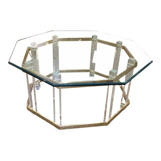 Charles Hollis Jones Lucite Brass and Glass Cocktail Table