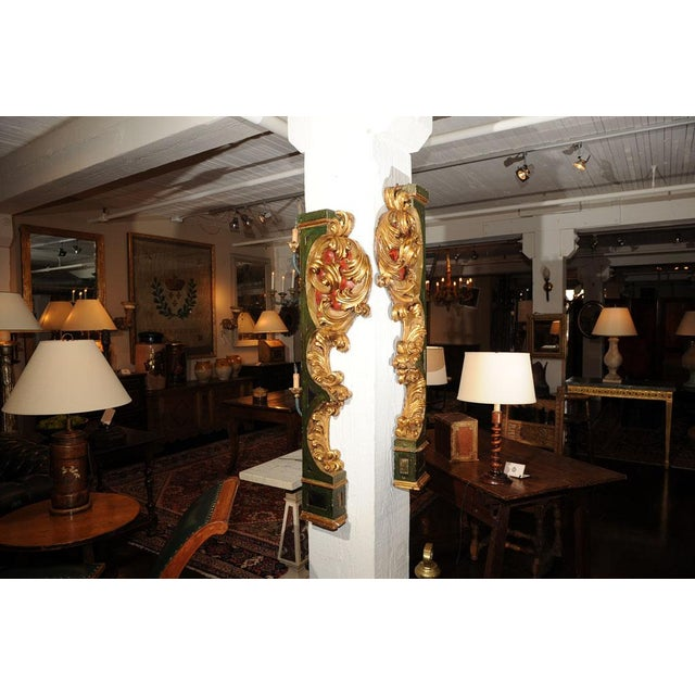 Pair of Italian Paint and Giltwood Architectural Carvings For Sale - Image 4 of 7