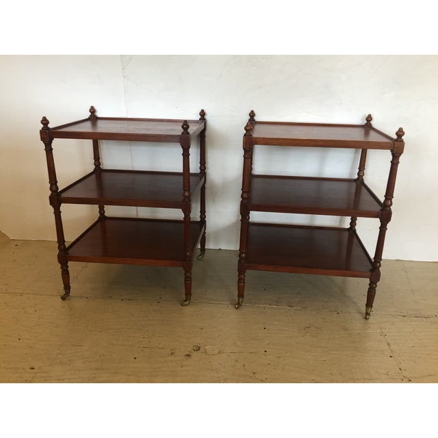 Grand Rapids Vintage 3-Tier Mahogany Side End Tables -A Pair For Sale - Image 9 of 9