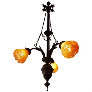 Late 19th Century Art Noveau Bronze and Tangerine Glass Chandelier For Sale