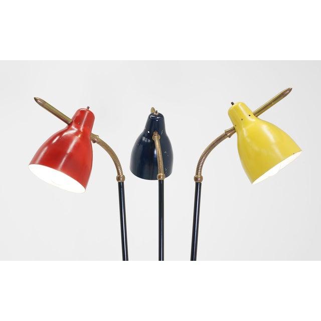 Black Italian Three Post/Arm Floor Lamp For Sale - Image 8 of 8
