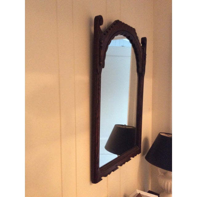 Wood Early 19th Century Rustic Dark Oak Console and Mirror - 2 Pieces For Sale - Image 7 of 13