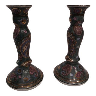 Oriental Candle Holders - A Pair For Sale