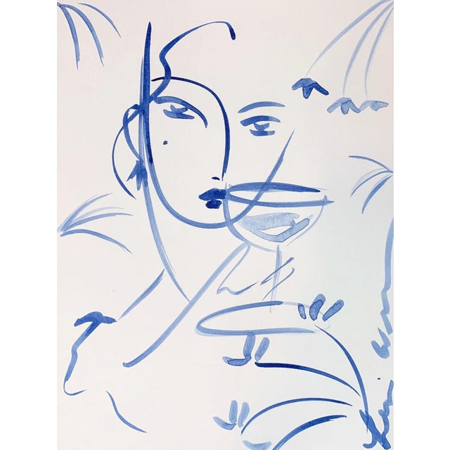 Abstract Flowers and Wine in Indigo Lucille by Leslie Weaver For Sale - Image 3 of 3