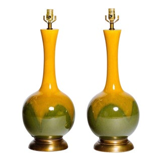Pair of Mid-Century Modern Long Neck Ceramic Glazed Lamps For Sale