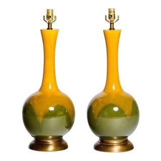 Pair of Mid-Century Modern Long Neck Ceramic Glazed Lamps For Sale