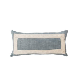 Light Blue Linen Greek Key Lumbar Pillow For Sale