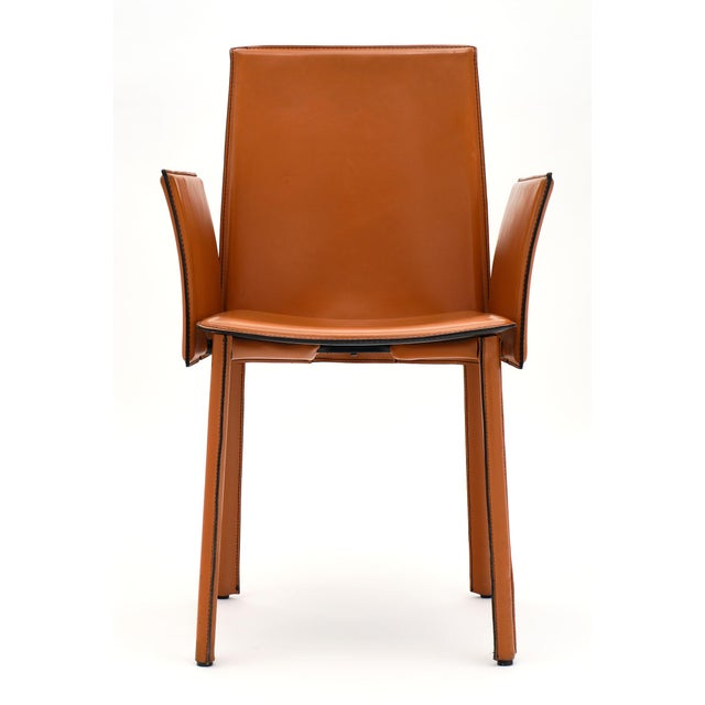 Vintage Modernist Orange Leather Armchairs - a Pair For Sale - Image 4 of 10