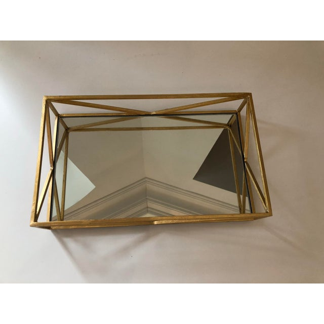 Contemporary Iron Tray With Inset Mirror in Golf Leaf For Sale - Image 4 of 9