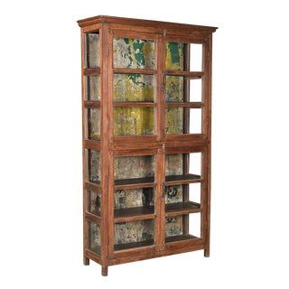 Antique Colonial Glass Cabinet For Sale