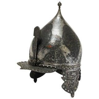 Islamic Anglo Indian Kulah Khud Helmet With Arabic Inscription For Sale