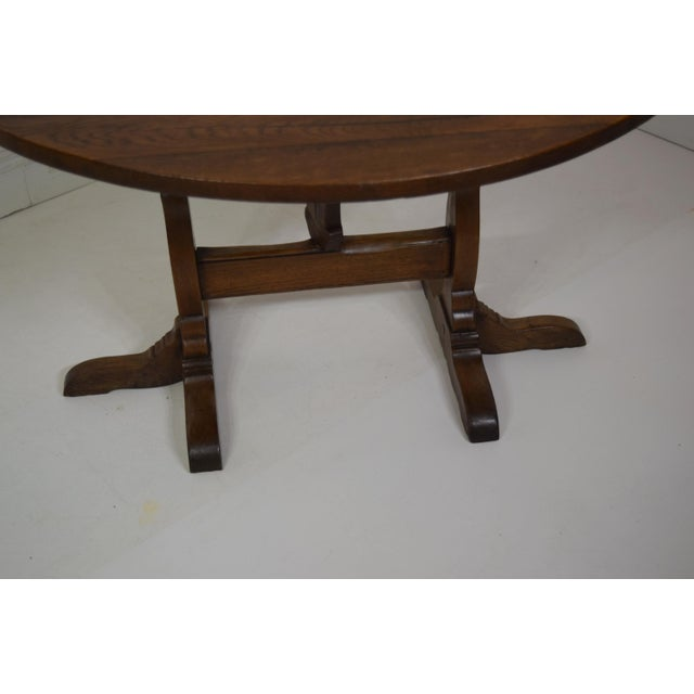 French 19th-Century Oak Wine Tasting Table. Super sturdy and heavy table. Fantastic top and base. When top it upright, it...