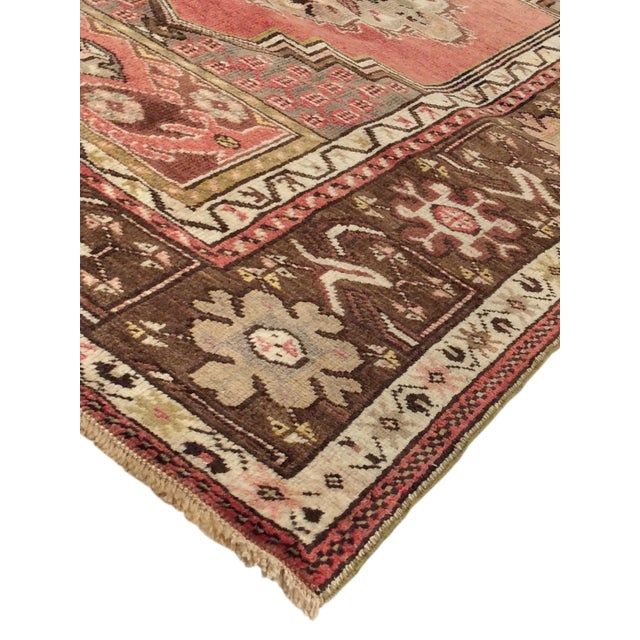 """Vintage Brown & Red Oushak Area Rug - 3'6"""" X 5'5"""" - Image 2 of 3"""