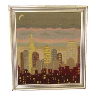 "Vintage ""New York City"" Signed, Framed Needlepoint Art For Sale"
