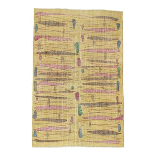 1960s Vintage Yellow Turkish Rug - 5′7″ × 8′5″