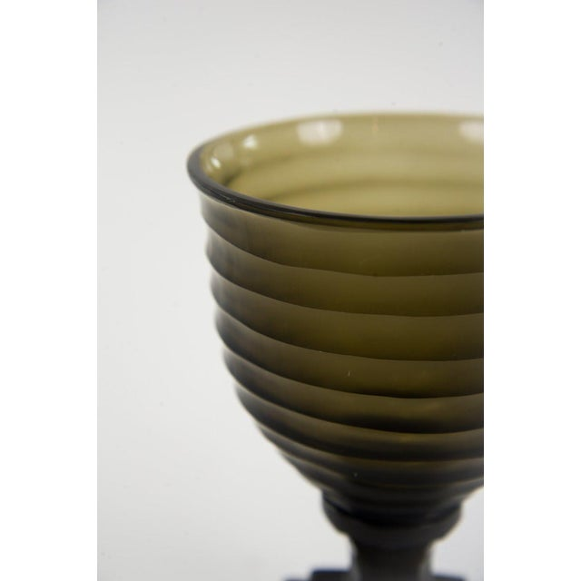 Art Deco Style Glass Water Goblets - A Pair For Sale - Image 4 of 7
