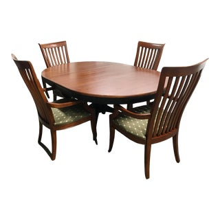 Thomasville Furniture Cinnamon Hill Black & Cherry Round/Oval Dining Table Chair Set For Sale
