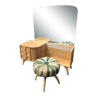 Heywood Wakefield Kohinoor Mid Century Vanity With Stool For Sale