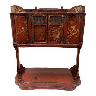 Mid 19th Century Asian Red 2-Door Lacquered Cabinet For Sale