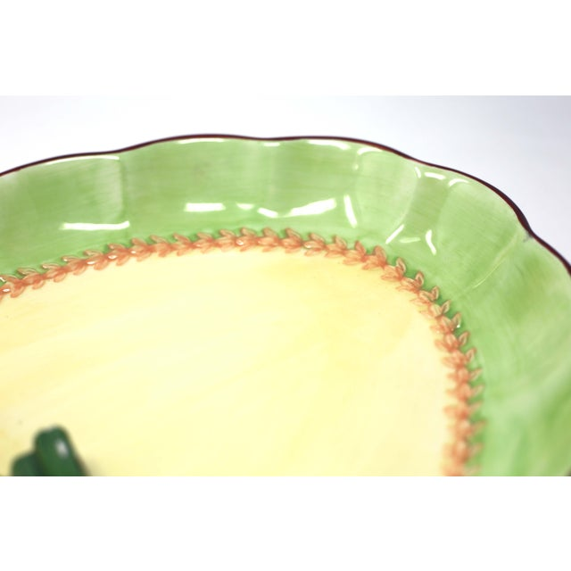 Ceramic Vintage Hand-Painted Trompe l'Oeil Lemon and Asparagus Decorative Plate For Sale - Image 7 of 11