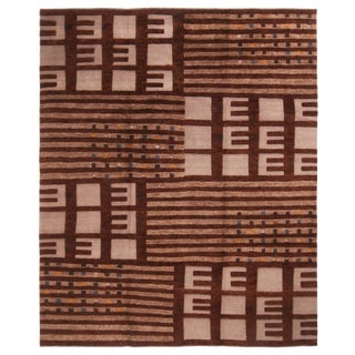Scandinavian Style Hand-Knotted Geometric Beige and Brown Wool Rug - 8′5″ × 10′3″ For Sale