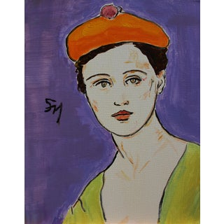"""""""Beret"""" Contemporary Portrait Acrylic Painting by Sarah Myers For Sale"""