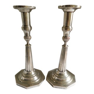 Sterling Silver European Hallmarked Candleholders - a Pair For Sale