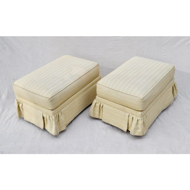 Sherrill Furniture Vintage Ottomans on Casters, Pair For Sale - Image 4 of 10