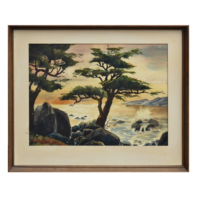 Rustic Robert Price Watercolor of Point Lobos Sunset For Sale - Image 3 of 4