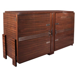 French Modernist Cabinet With Nickeled Bronze Linear Mounts For Sale