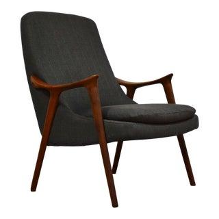 Kornett Grey Teak Lounge Chair For Sale